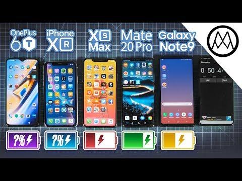 OnePlus 6T vs iPhone XR / XS vs Mate 20 Pro vs Note 9 Battery Life DRAIN TEST