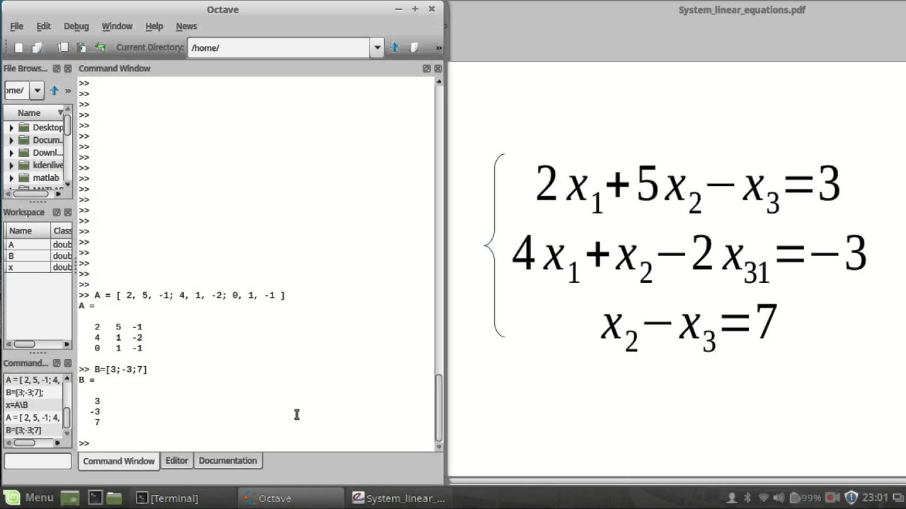 How To Solve Systems Of Linear Equations Gnu Octave Youtube