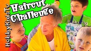 Shocking HAIRCUT Challenge!  Uh Oh Too Funny Dare HobbyKidsTV