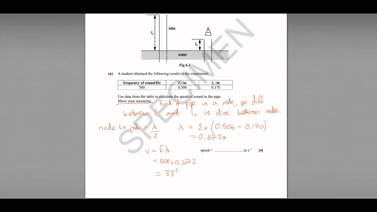 Q6 Ocr Depth In Physics Specimen Paper Standing Waves Youtube