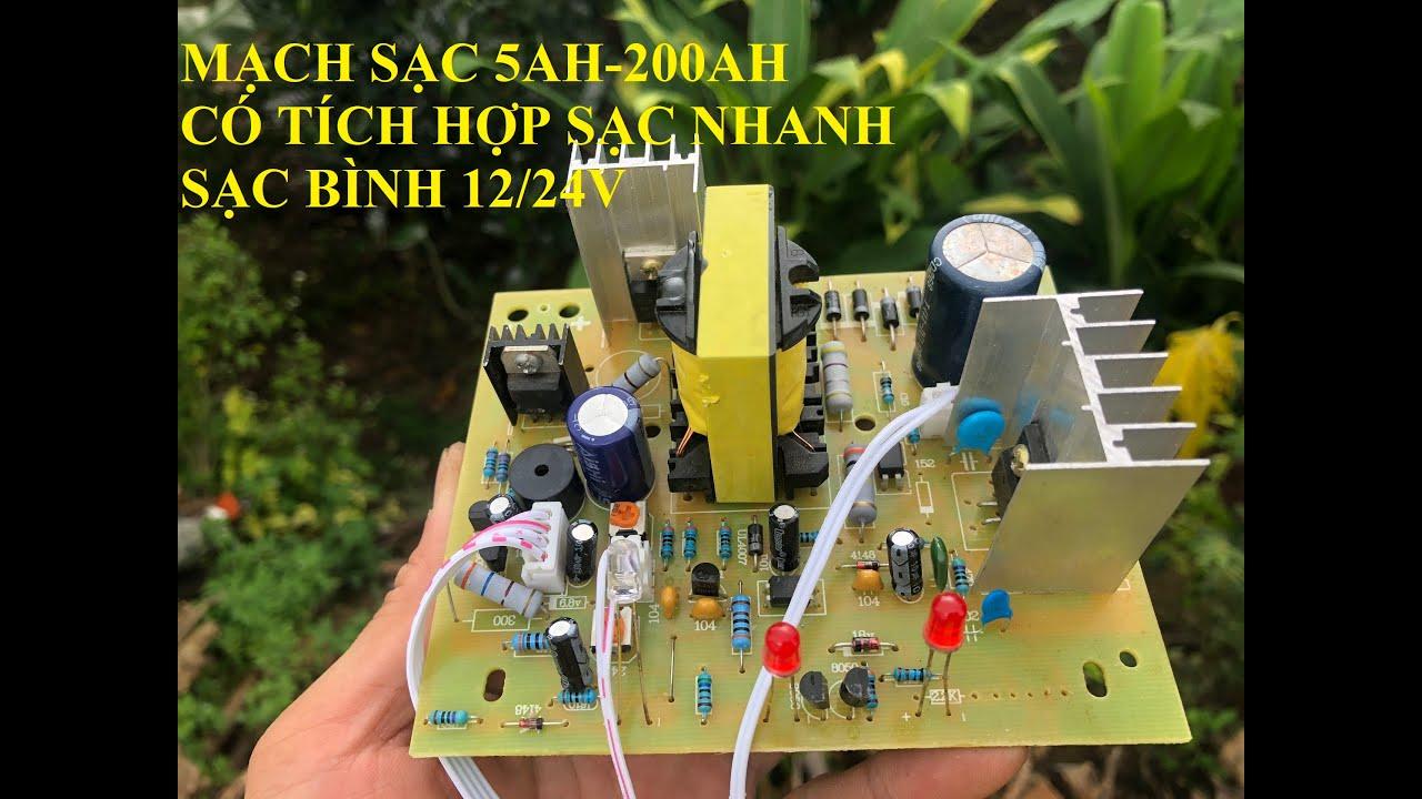 mạch sạc bình 12/24V 200AH có tích hợp công nghệ sạc nhanh