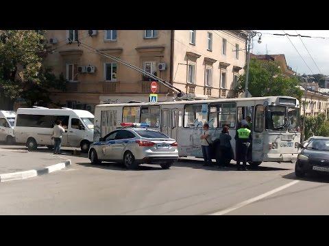ДТП на Новороссийской, троллейбус и маршрутное такси
