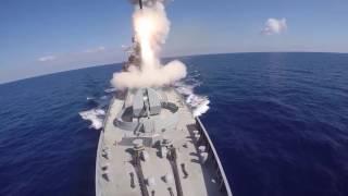 Минобороны РФ опубликовало видео удара крылатыми ракетами «Калибр» по террористам в Сирии