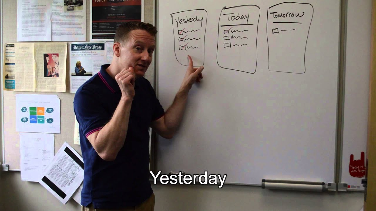 Time signs: Day, week, weekend, month, year, today ...  |Asl Sign Tomorrow