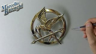 The Hunger Games: Mockingjay pin - drawing time lapse