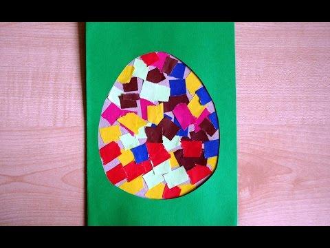 Пасхальное яйцо. Аппликация из цветной бумаги. Детские поделки своими руками.
