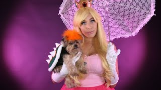 Princess Peach & Bowser Cosplay w/ your PET! - DIY