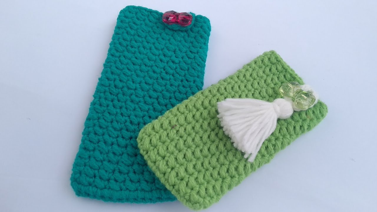 Left-handed Version   How to crochet Phone Pouch with Button - YouTube