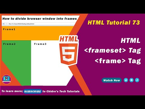 HTML Video Tutorial - 73 - Html Frameset Tag And Html Frame Tag - Part 1