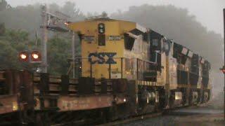 [2g] Chasing CSX Trains Through Rain and Fog, Railfanning Carlton - Winder GA, 05/20/2016 ©mbmars01