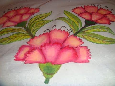 Pintura en tela flor clavel con marimur 445 youtube - Flores de telas hechas a mano ...