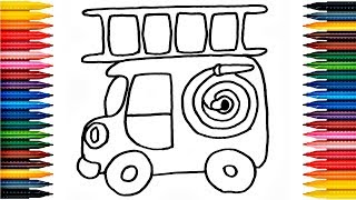 Drawing Fire Car Learn How to Draw Fire Car Colors Picture Coloring Book Fire Car Coloring Page