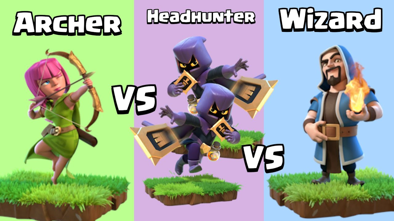 Every Level Wizard and Archer VS Every Level Headhunter | Clash of Clans