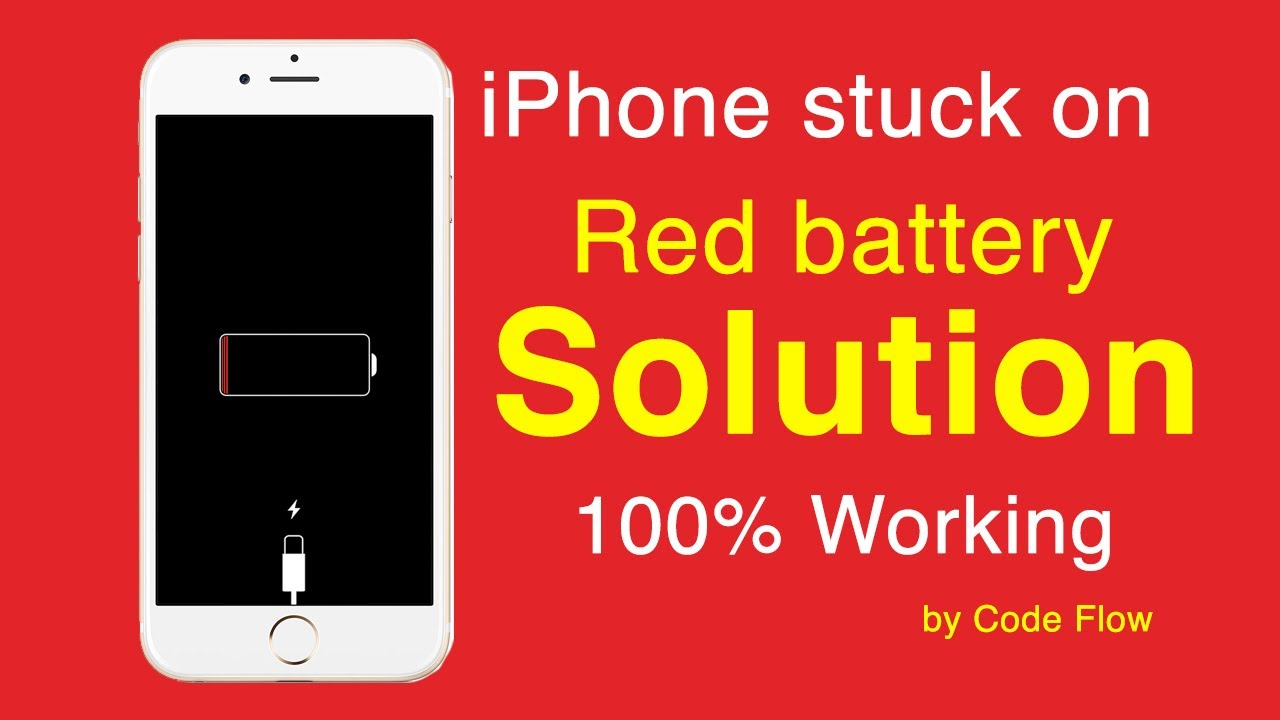 iphone stuck on red battery screen 100% working solution