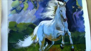 Painting Horse in a Landscape-Lipizzaner Stallion