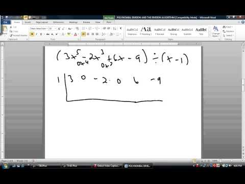 COLLEGE ALGEBRA  - POLYNOMIAL DIVISION AND THE DIVISION ALGORITHM