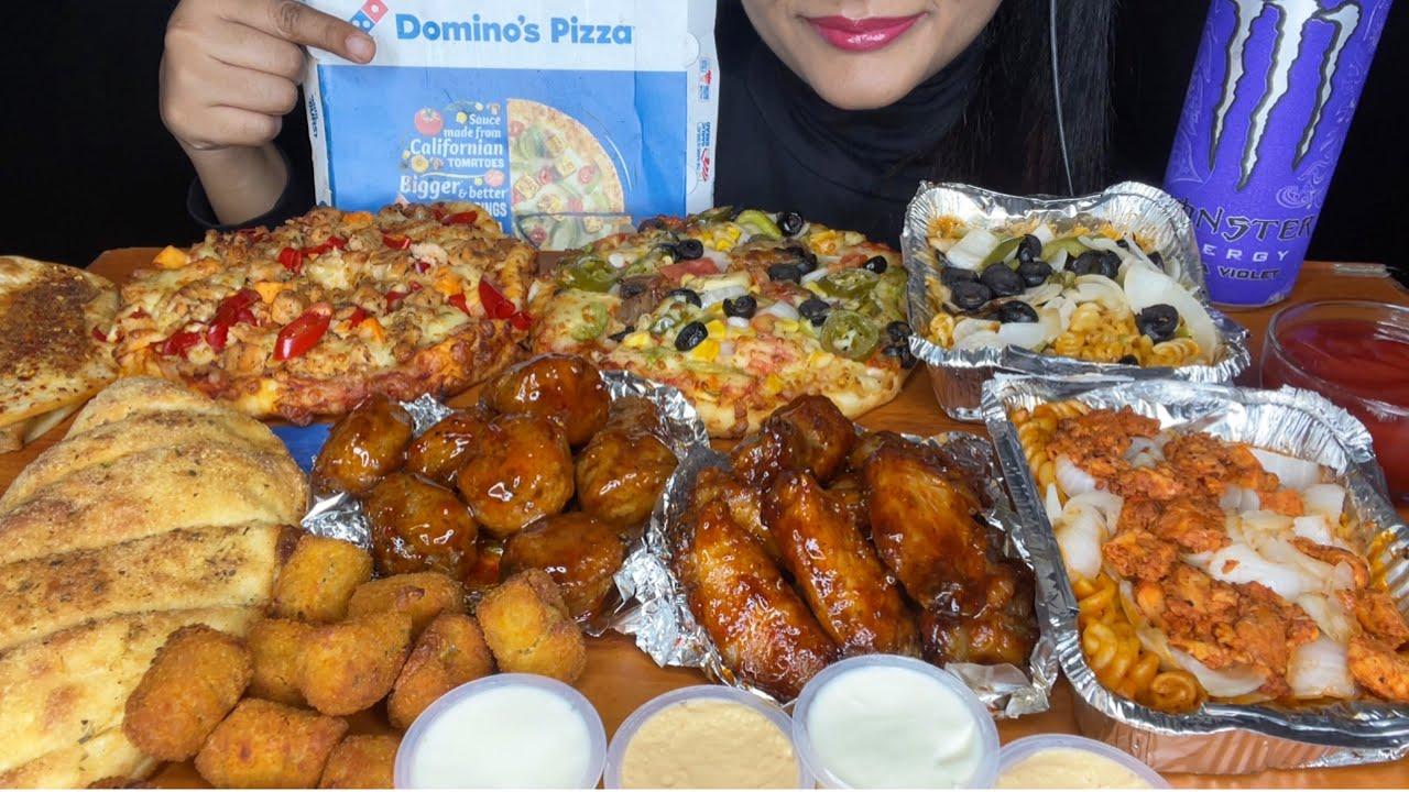 ASMR:DOMINO'S PIZZA,BBQ CHICKEN WINGS,GARLIC BREAD,PASTA,CHEESY PIZZA,TACO MEXICANA *FOOD VIDEOS*