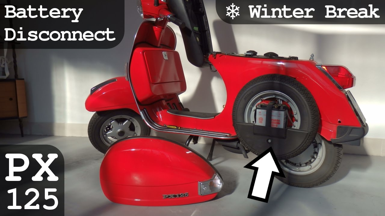 piaggio vespa px125 battery disconnect winter break youtube. Black Bedroom Furniture Sets. Home Design Ideas