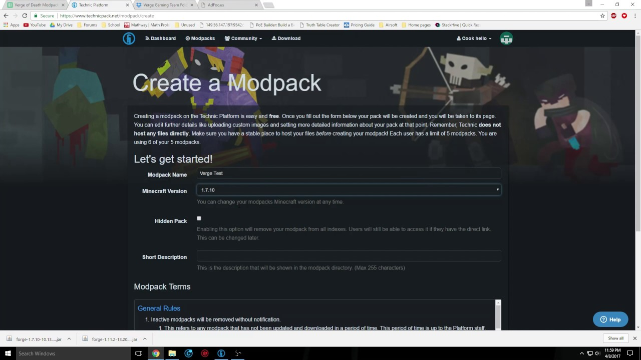 how to create a modpack for technic launcher