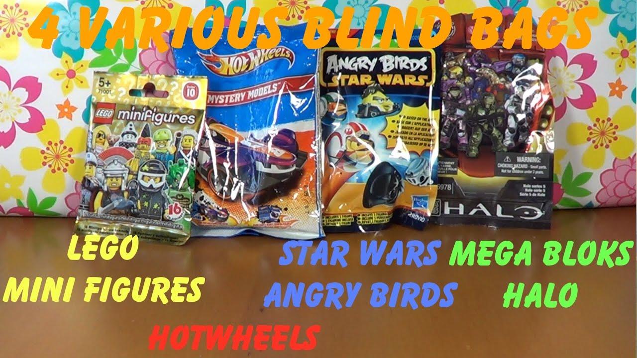 4 Various Blind Bags Lego Figures Hotwheels Star Wars