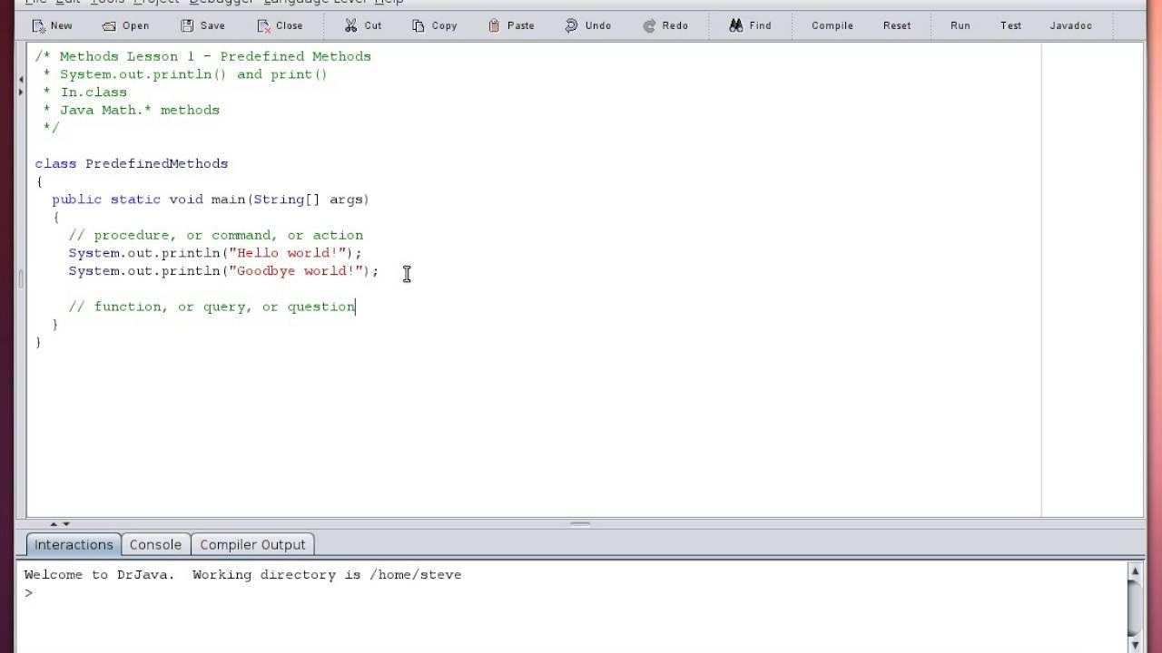 Java - Methods - Predefined Methods