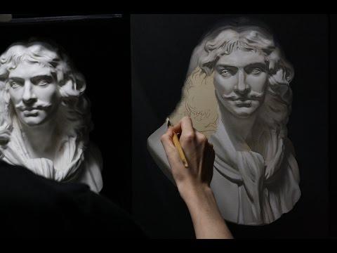 Timelapse painting # 5 Oil paint in grisaille - Buste de Moliere peinture à l