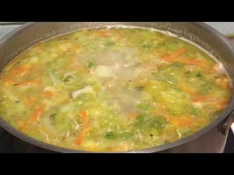 Суп куриный с капустой и манкой