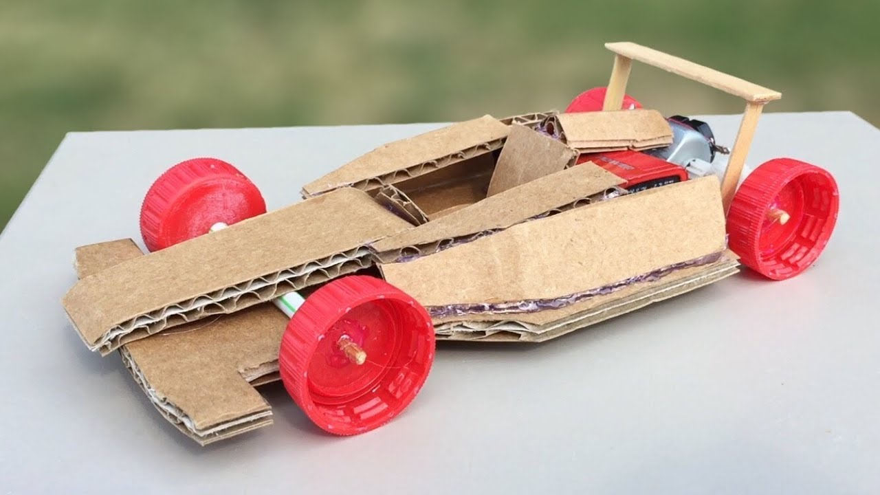 How To Make Amazing F1 Racing Car Out Of Cardboard   DIY Mini Electric Car