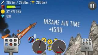 Hill Climb Racing 2961 meters whith dragster on mountain Stupid Fail