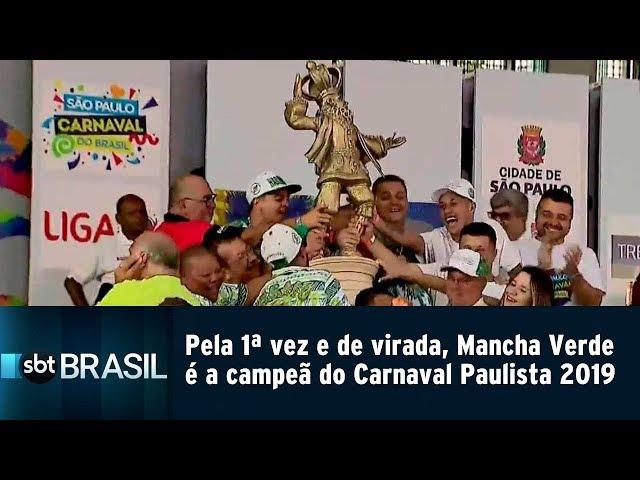 Pela 1ª vez e de virada, Mancha Verde é a campeã do Carnaval Paulista 2019 | SBT Brasil (05/03/19)