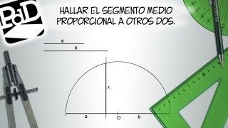 Hallar el segmento medio proporcional a otros dos (Teorema de la altura de Euclides).