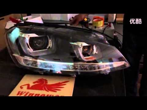 vw golf 7 xenon headlight with led angel eye and hid. Black Bedroom Furniture Sets. Home Design Ideas