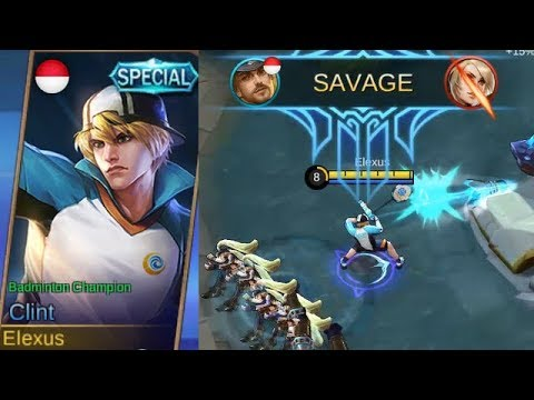 Clint Special Skin Badminton Champion Gameplay (Clint Best Skin..?) - Mobile Legends
