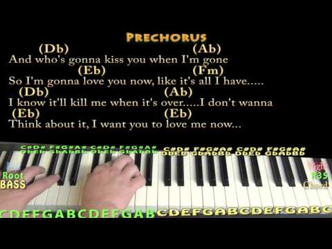Love Me Now (John Legend) Piano Lesson Chord Chart With On-Screen Lyrics