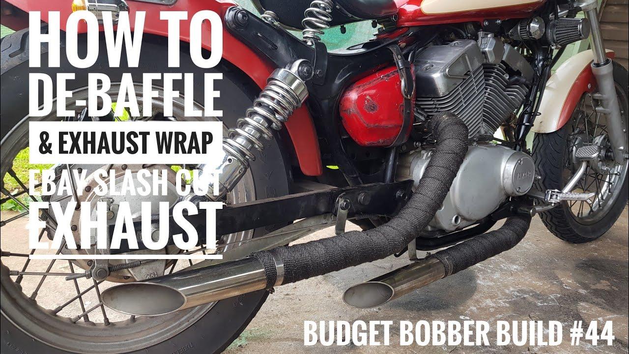 Budget Bobber Build #44   How to De-baffle & Exhaust Heat Wrap, Ebay Slash  Cut Exhaust Virago XV250