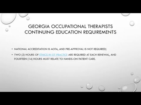 Georgia Occupational Therapists Continuing Education Requirements