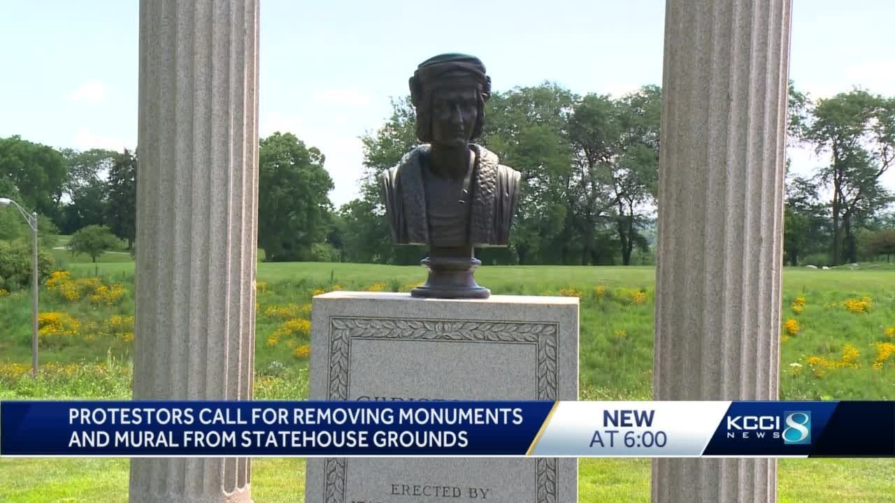 Protesters deliver letter demanding for Iowa Capitol monuments to be removed