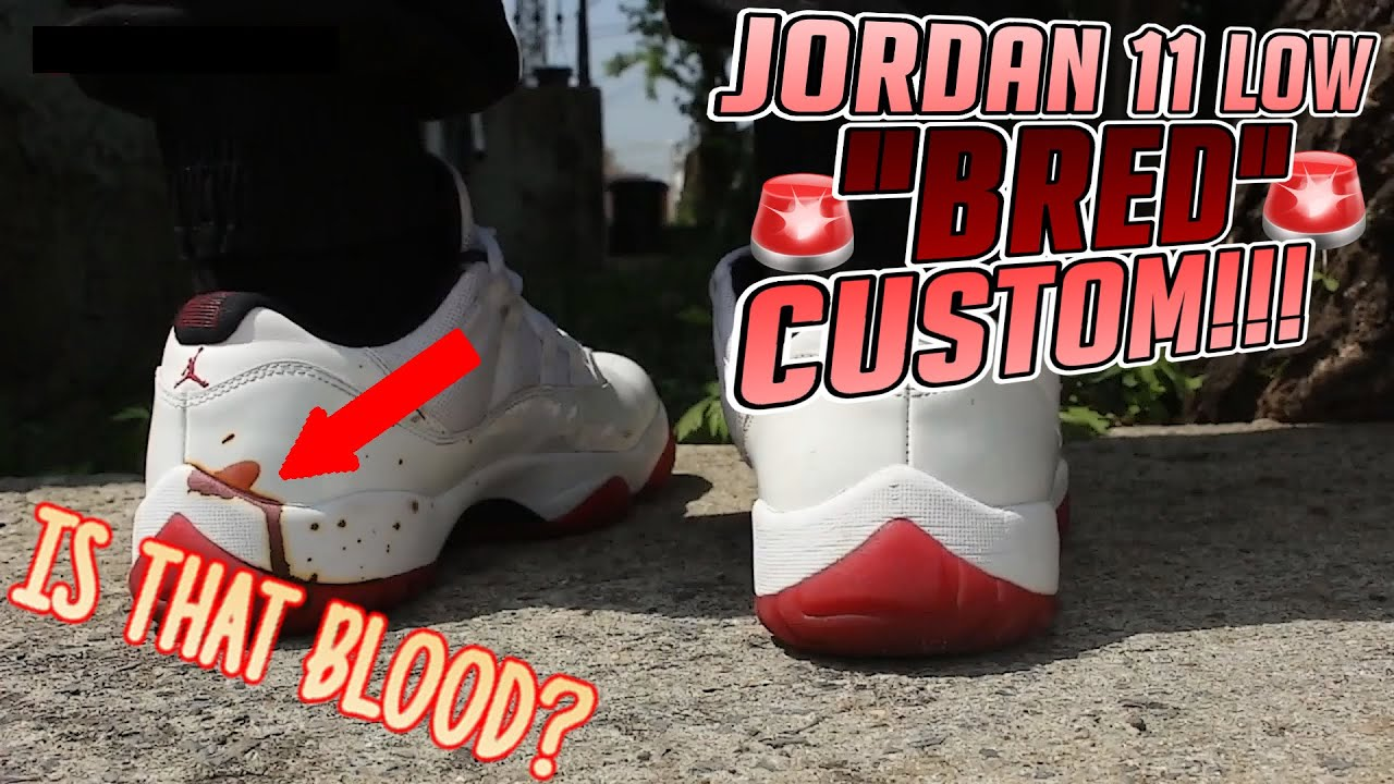 1d330f81ce7 BLOOD STAINED JORDAN 11 CUSTOM! CHANGED FROM RED BOTTOM 11 TO BRED 11 LOW!   PHAZEDNY