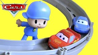 Pocoyo & Pixar Cars Race and Chase McQueen Sally Carrera Motorized Track Baby Toys by ToyCollector