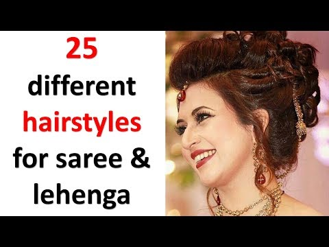 25 easy and beautiful hairstyles with saree & lehenga || new hairstyle || hairstyles for girls thumbnail