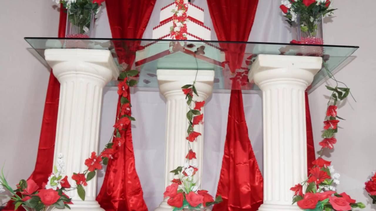 Decoraç u00e3o para Casamento Vermelho e Branco YouTube -> Decoração Para Casamento Vermelho Branco E Dourado