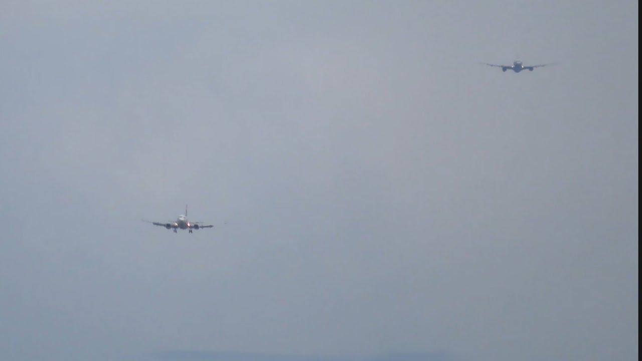 Detik - detik 2 Pesawat Terbang Landing Hampir Bersamaan di Bandara Ngurah Rai Bali.
