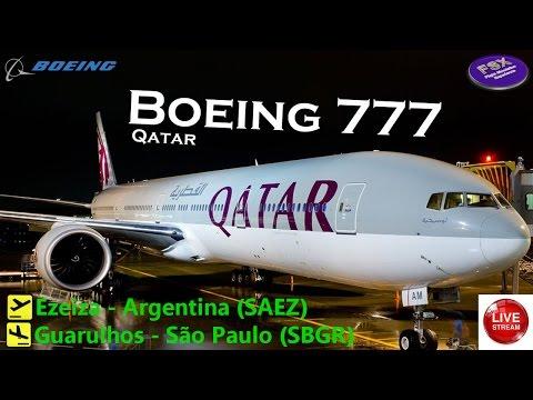[FSX] [IVAO] BOEING 777 QATAR | Argentina ✈ São Paulo | AO VIVO
