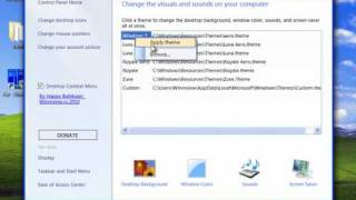 Windows 7 Home Basic Personalization Panel