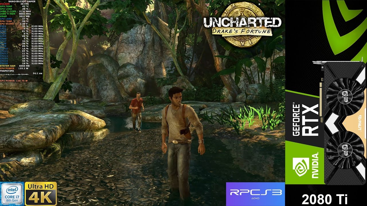 Uncharted Drake's Fortune 4K RPCS3 Emulator | RTX 2080 Ti | i9 9900K 5 1GHz