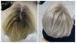 Обесцвечивание сильно отросшего корня и тонирование в светлый платиновый блондин 10 0 bleaching hair