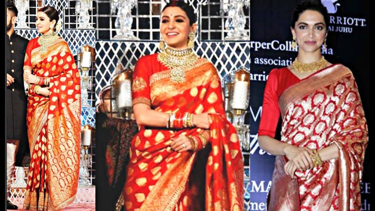 Anushka Sharma Red Saree Copies From Deepika Padukone Red ...