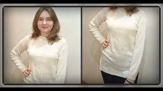 Женский свитер - туника, регланом сверху, вязание спицами