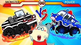 Download lagu 🔴 Live | Police Car Vs Monster Car - Wolfoo Plays with Toy Cars