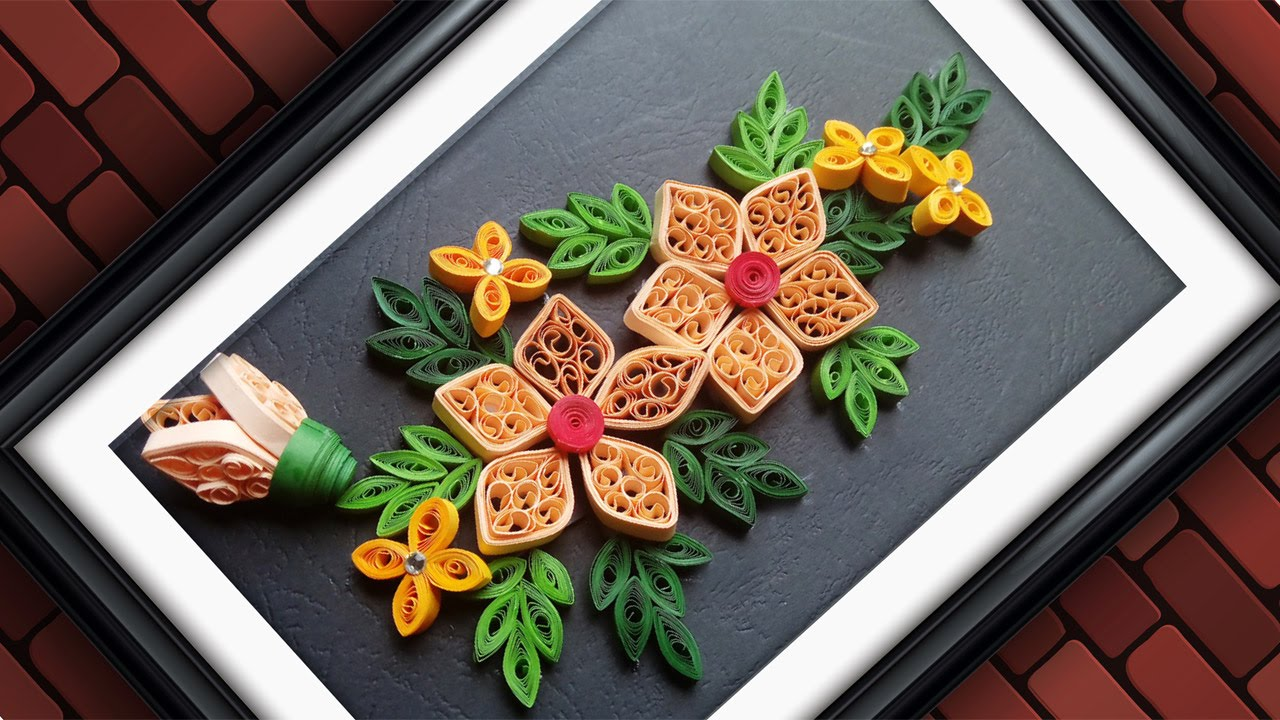 Quilling designs wall decorating ideas diy paper for Art and craft pot decoration
